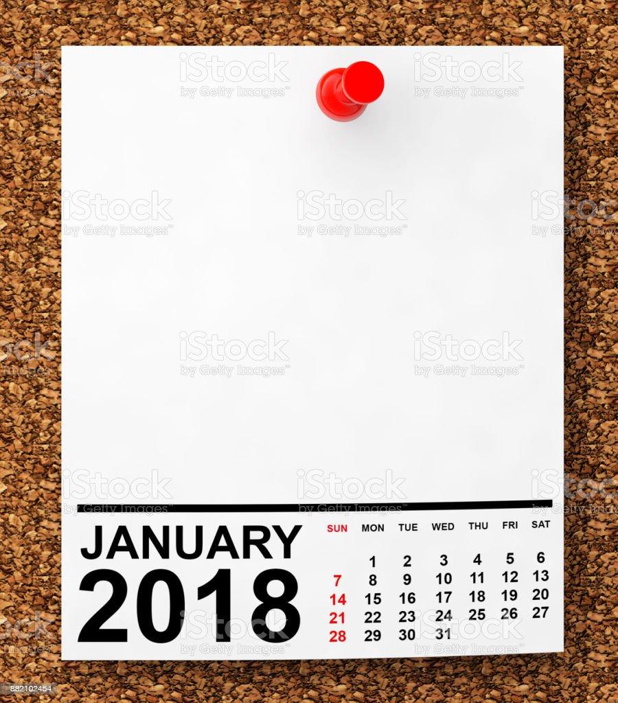 Calendar January 2018. 3d Rendering stock photo