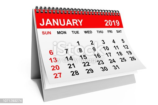 923430302 istock photo Calendar January 2019. 3d rendering 1071293274
