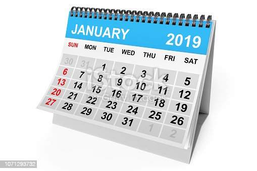 923430302 istock photo Calendar January 2019. 3d Rendering 1071293732