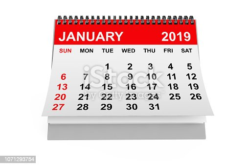 923430302 istock photo Calendar January 2019. 3d rendering 1071293754