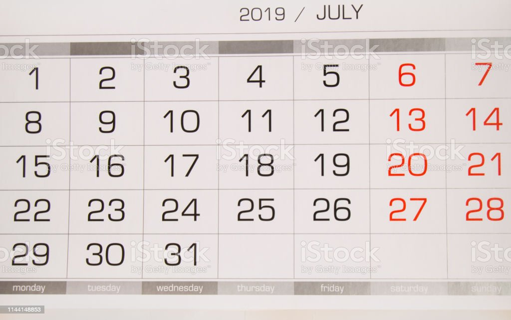 Calendar July 2019 With Working Days And Weekends Closeup Top View