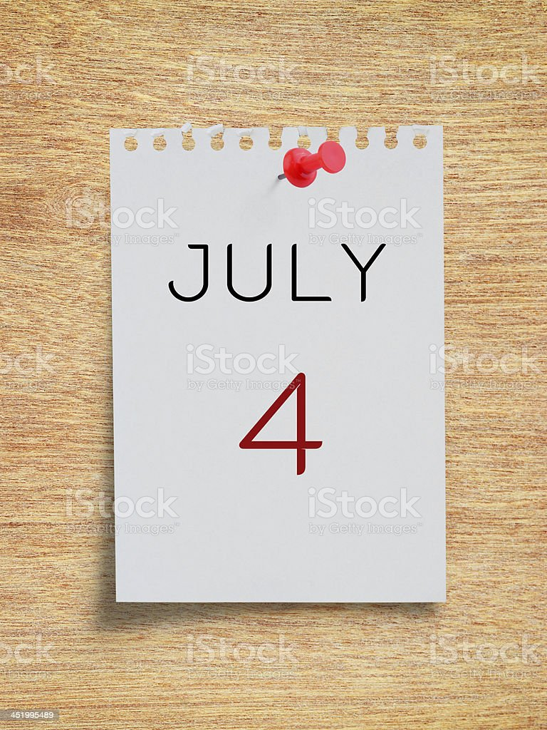 Calendar July 4 on paper note royalty-free stock photo