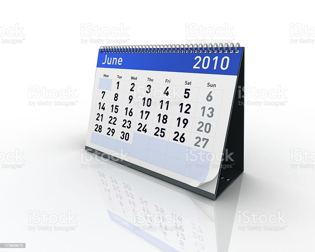 Calendar - June 2010 royalty-free stock photo