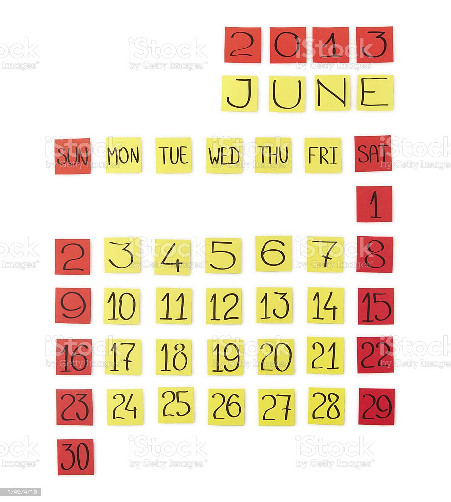 Calendar: June 2013. Pieces of colored paper. royalty-free stock photo
