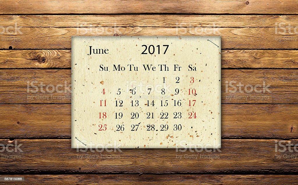 calendar June  2017 stock photo