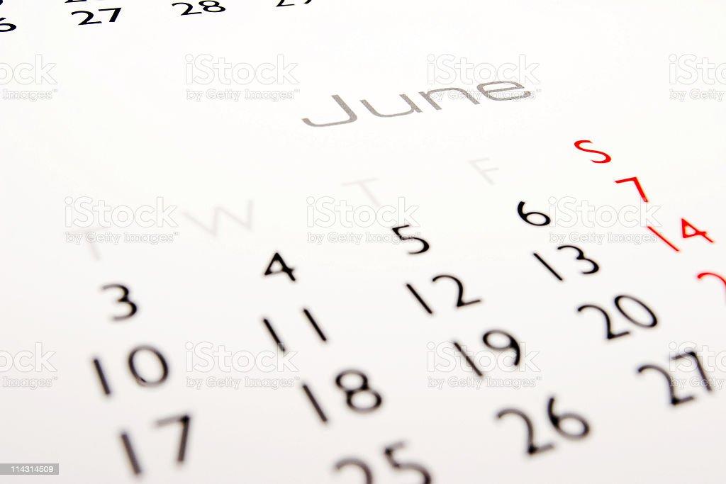 Calendar: June royalty-free stock photo
