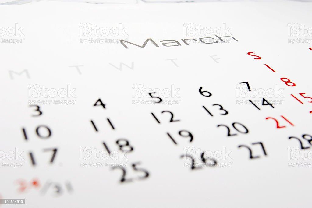 Calendar: March royalty-free stock photo