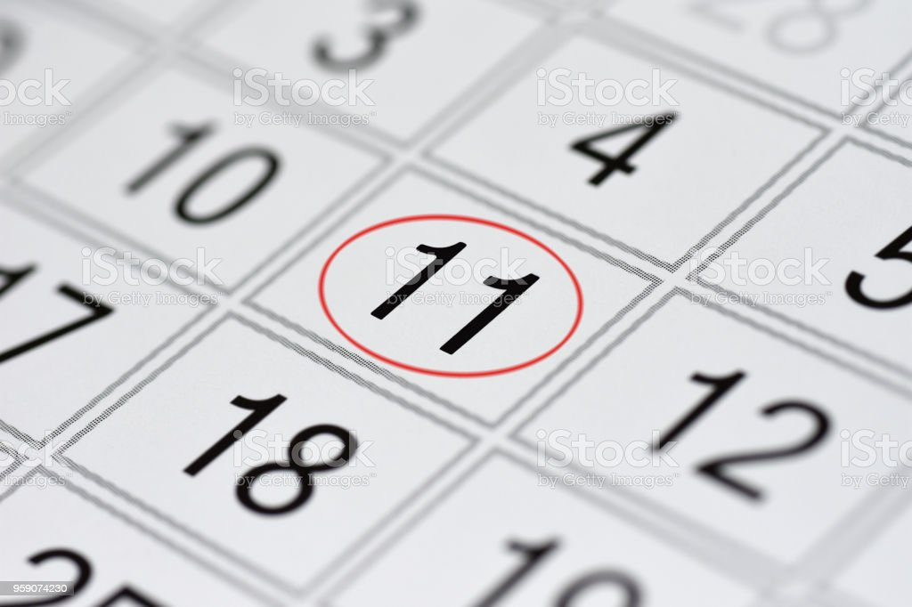 Calendar, mark day of the week, date in the red circle, note, scheduler, memo, save the date, 11 stock photo