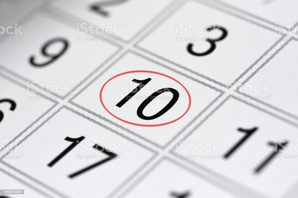 Calendar, mark day of the week, date in the red circle, note, scheduler, memo, save the date, 10 stock photo