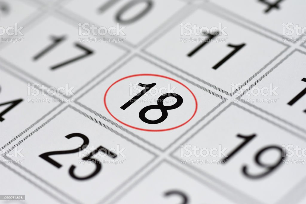 Calendar, mark day of the week, date in the red circle, note, scheduler, memo, save the date, 18 stock photo