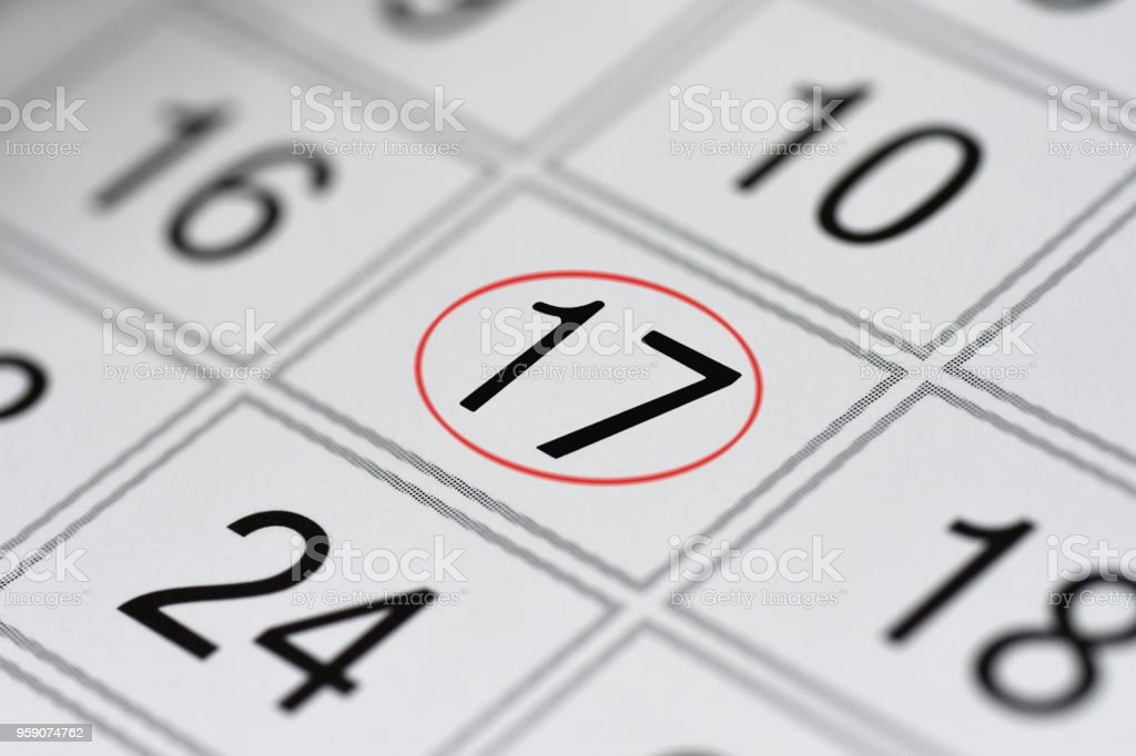 Calendar, mark day of the week, date in the red circle, note, scheduler, memo, save the date, 17 stock photo