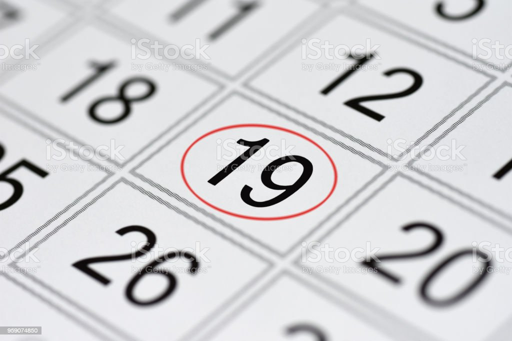 Calendar, mark day of the week, date in the red circle, note, scheduler, memo, save the date, 19 stock photo