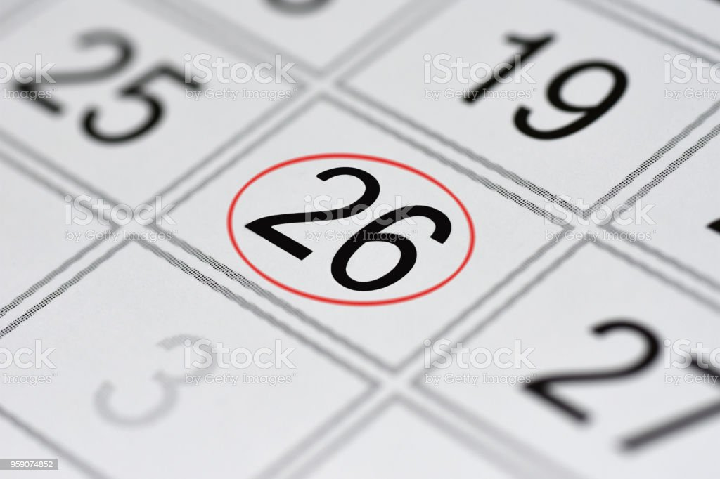 Calendar, mark day of the week, date in the red circle, note, scheduler, memo, save the date, 26 stock photo