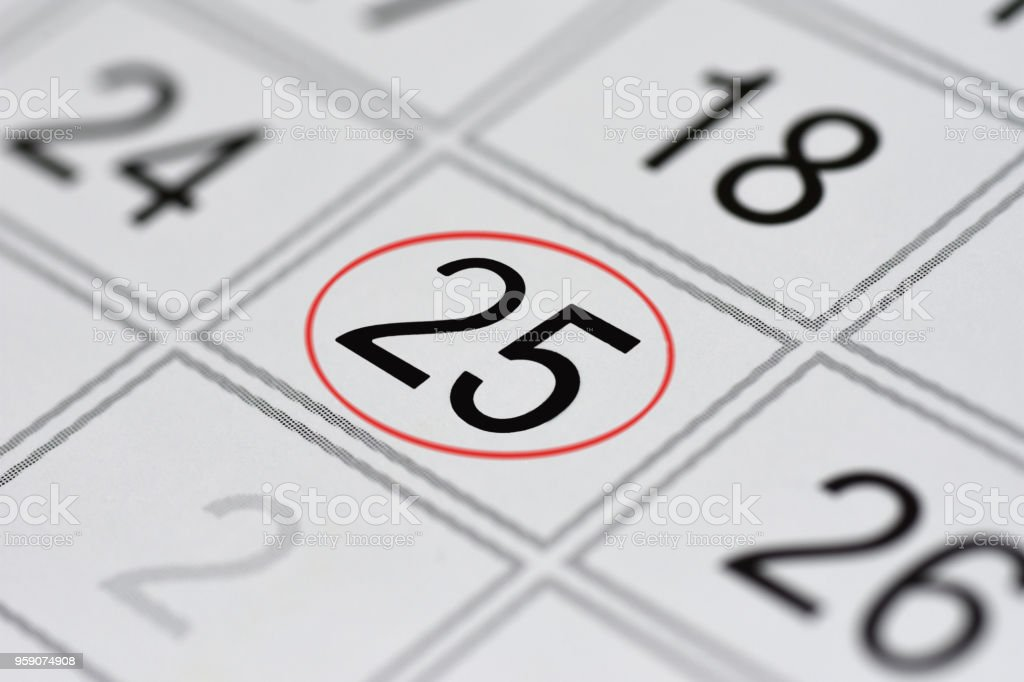 Calendar, mark day of the week, date in the red circle, note, scheduler, memo, save the date, 25 stock photo