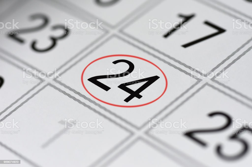 Calendar, mark day of the week, date in the red circle, note, scheduler, memo, save the date, 24 stock photo