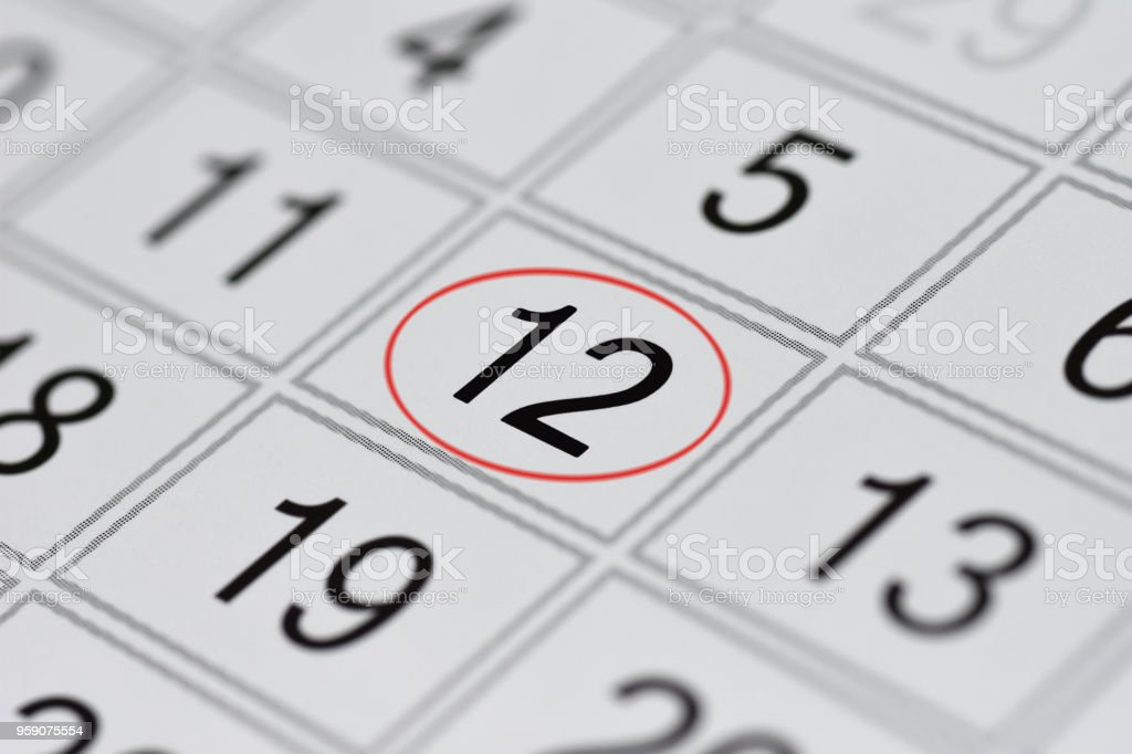 Calendar, mark day of the week, date in the red circle, note, scheduler, memo, save the date, 12 stock photo
