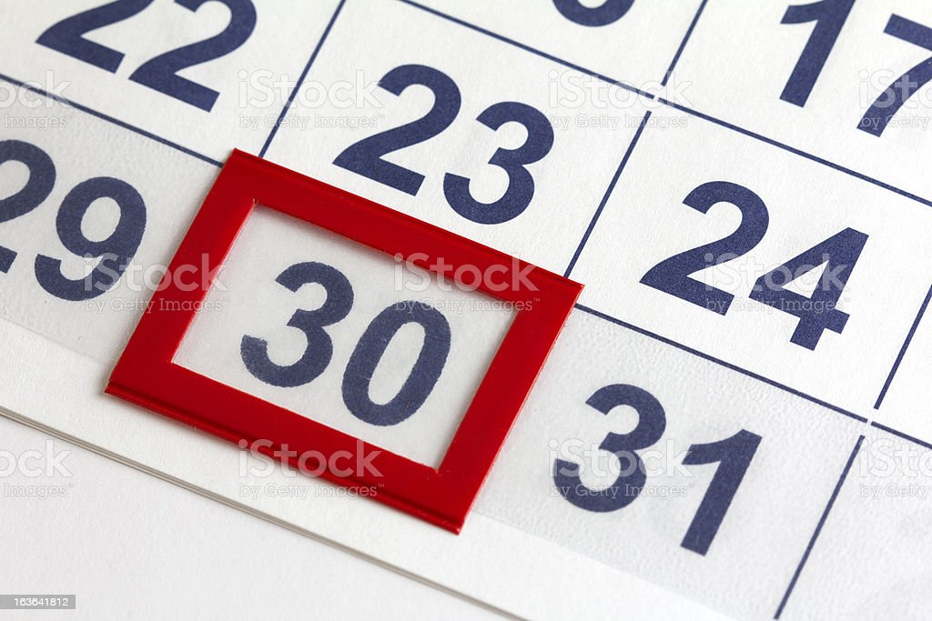 Calendar marked for a certain date stock photo
