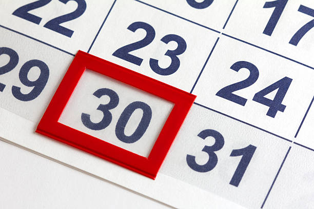 calendar marked for a certain date - number 30 stock photos and pictures