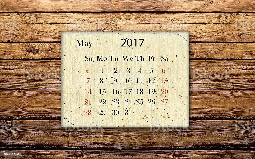 calendar May 2017 stock photo
