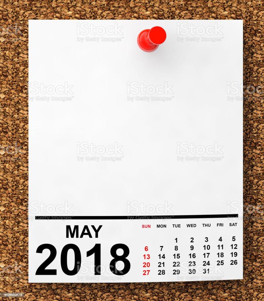 Calendar May 2018. 3d Rendering stock photo