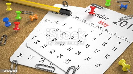 Calendar May 2019 paper with pencil metal attachment and pin on board Focused image