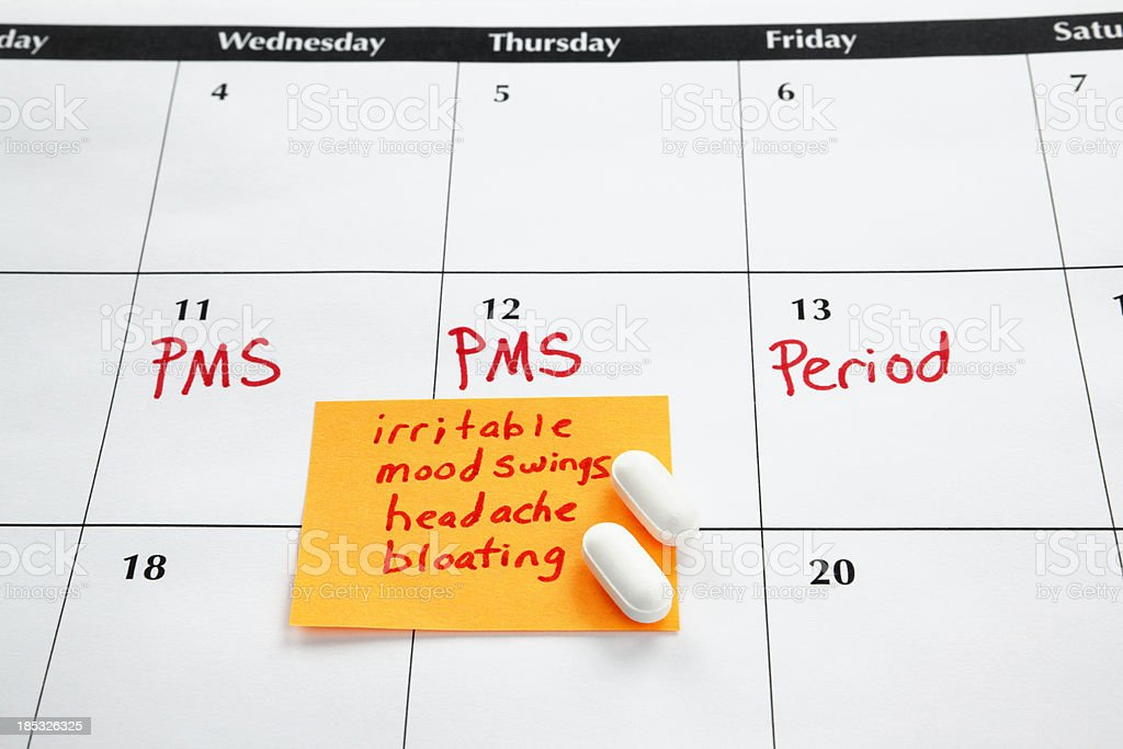 Calendar: Menstruation or PMS Medicine royalty-free stock photo