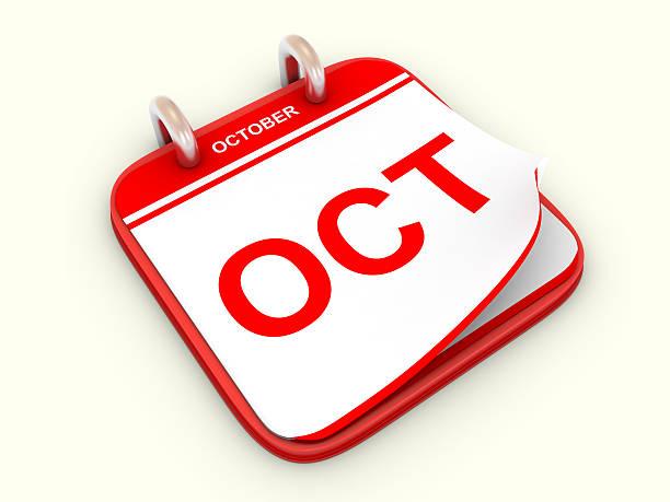 Calendar month October stock photo