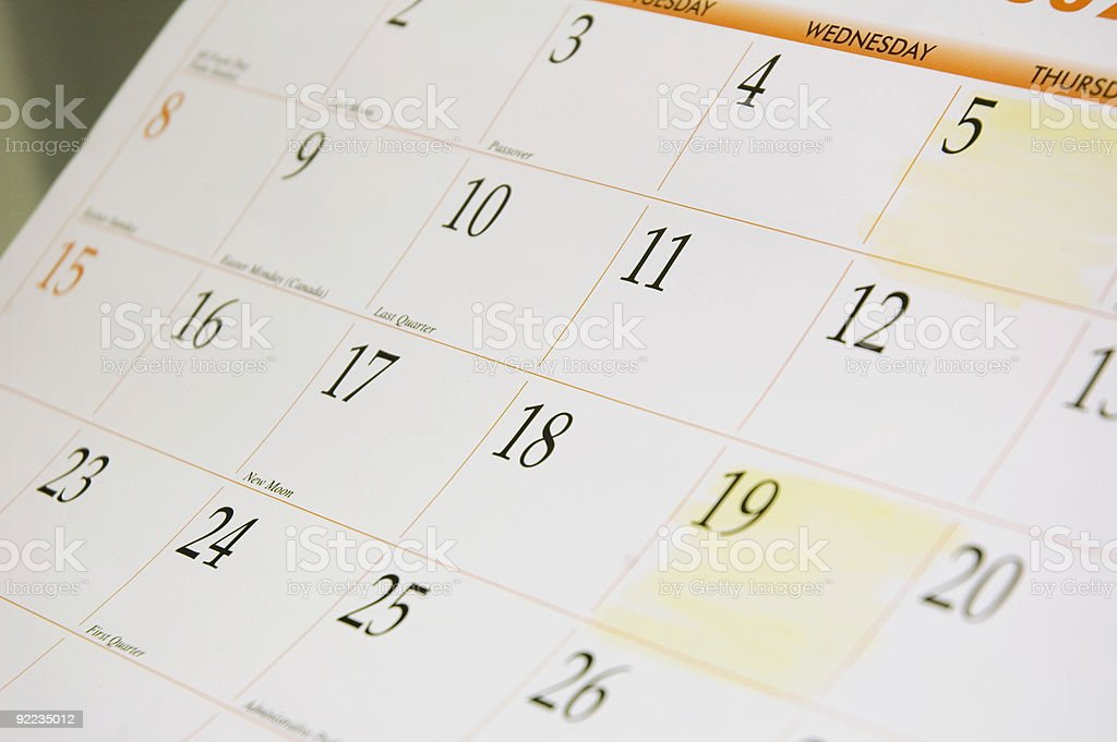 Calendar Month with Paydays Highlighted stock photo