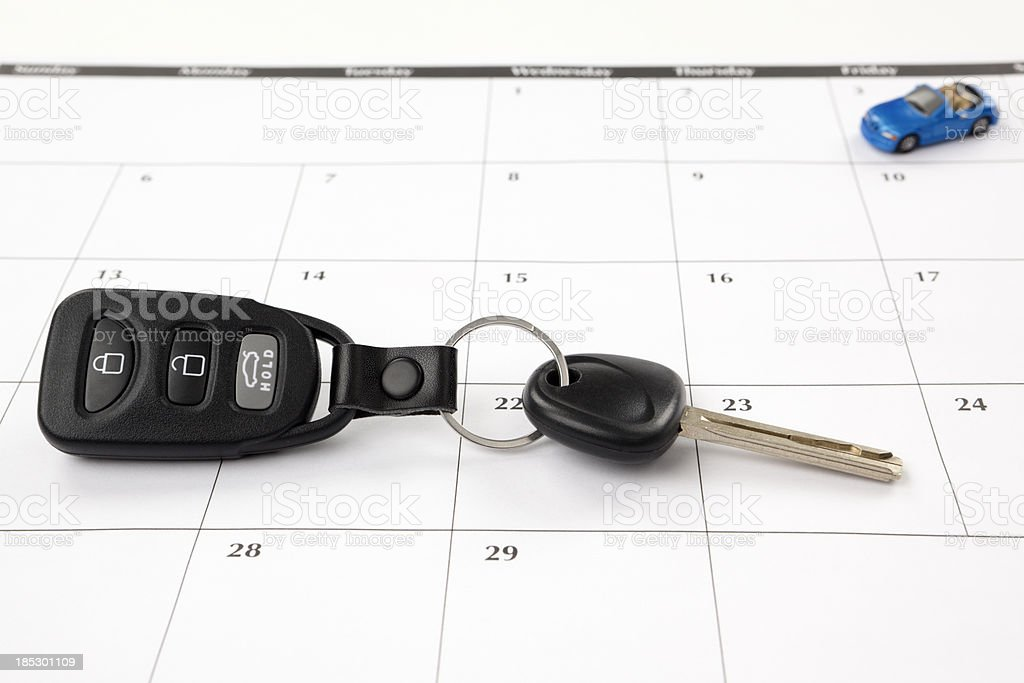 Calendar: New Car or Road Trip stock photo