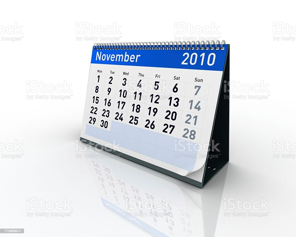 Calendar - November 2010 royalty-free stock photo