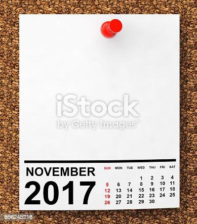 istock Calendar November 2017. 3d Rendering 856245218
