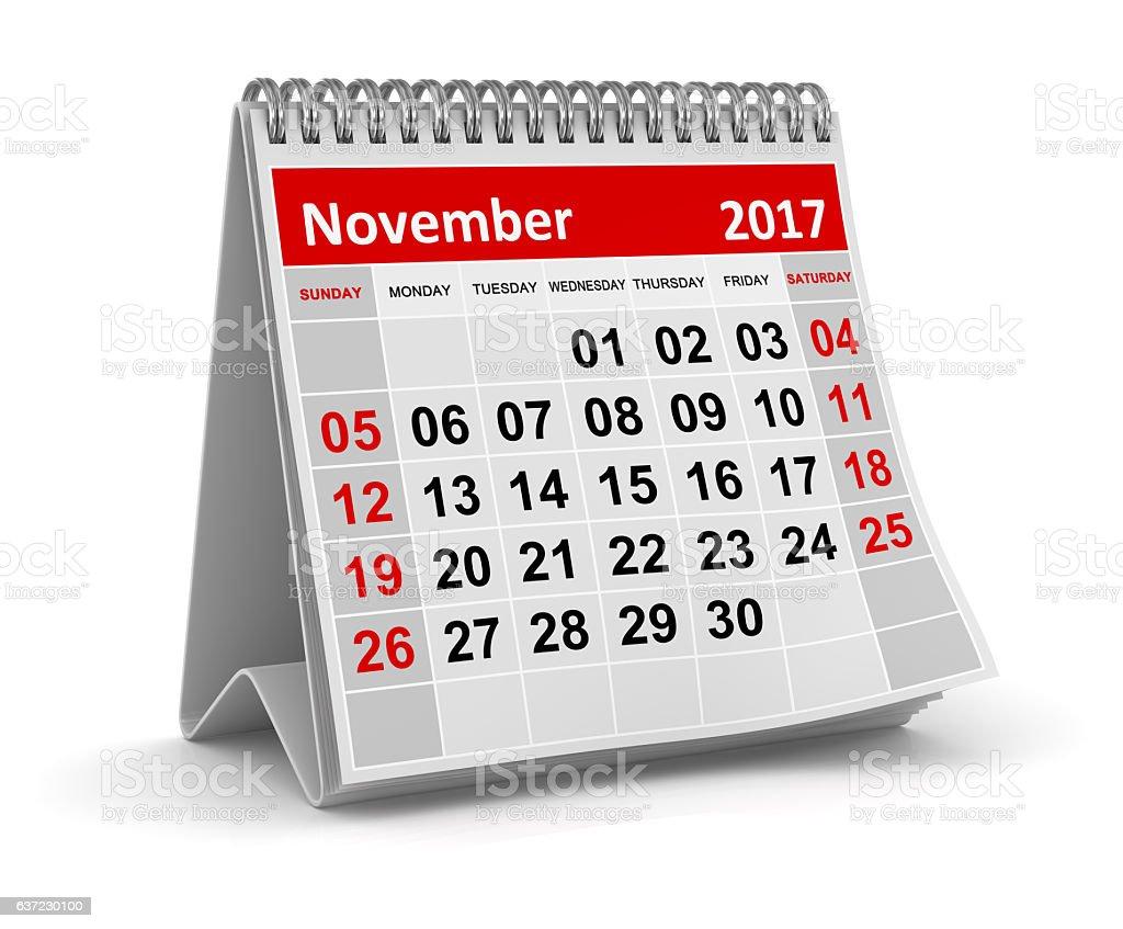 Calendar - November 2017 stock photo