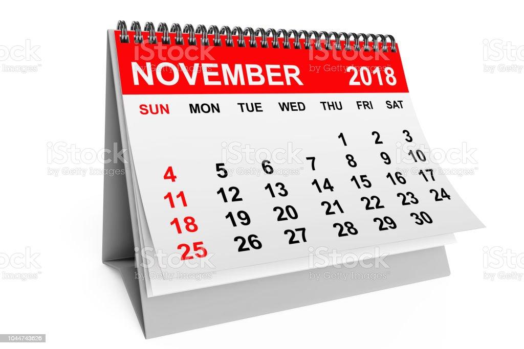 2018 year calendar. November calendar on a white background. 3d...