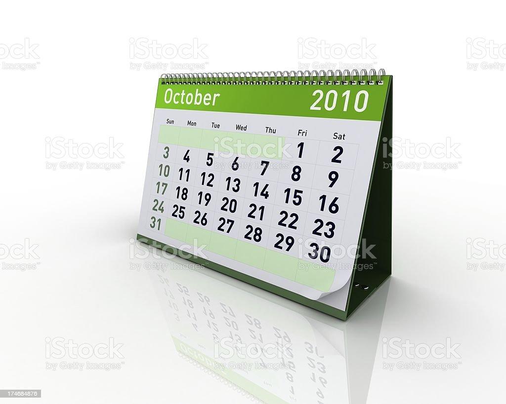 Calendar - October 2010 royalty-free stock photo
