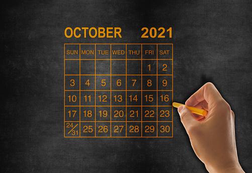 2021 calendar October on chalkboard
