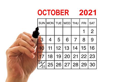 2021 calendar October on white background