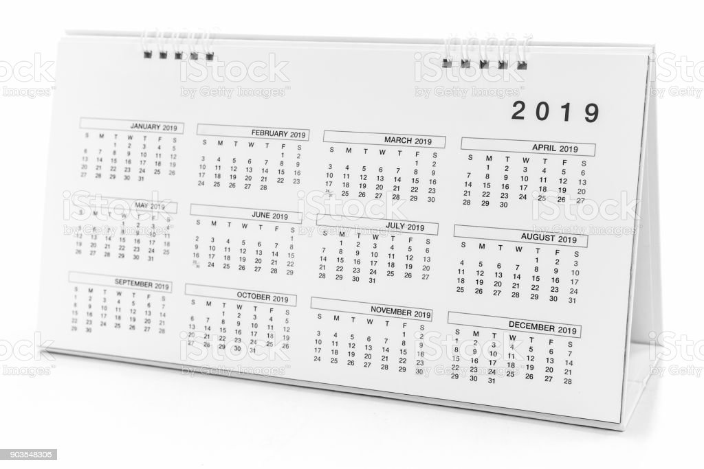 Calendar of 2019 on black background stock photo