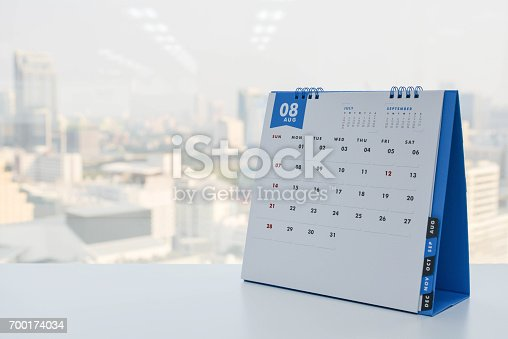 istock Calendar of August on the white table with city view background 700174034