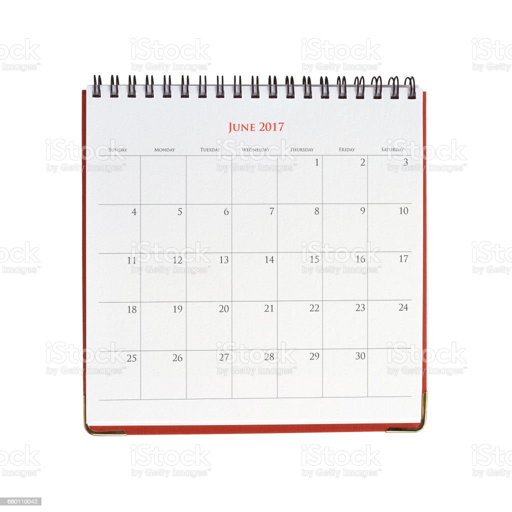 Calendar of June 2017 stock photo