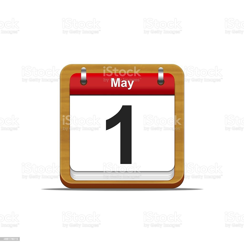 A calendar of May 1st on a white background stock photo