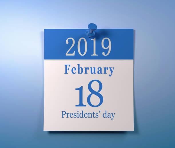calendário do 18 de fevereiro dia do presidente - presidents day - fotografias e filmes do acervo
