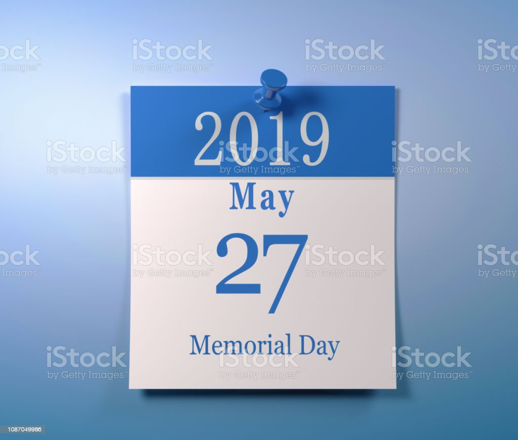 Calendar Of The May 27 2019 Usa Memorial Day Stock Photo