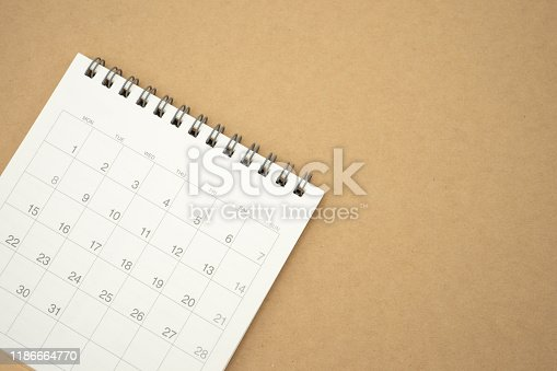istock A calendar of the month. using as background business concept and Planning concept with copy spaces and white space for your text or design. 1186664770