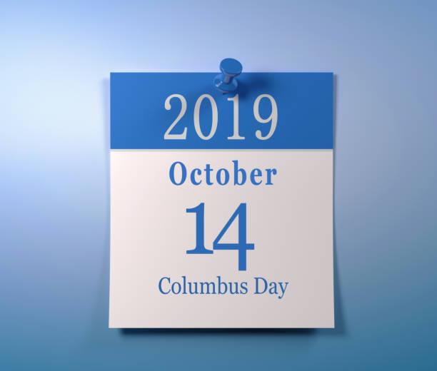 10 월 14 일 콜럼버스의 날의 달력 - columbus day 뉴스 사진 이미지