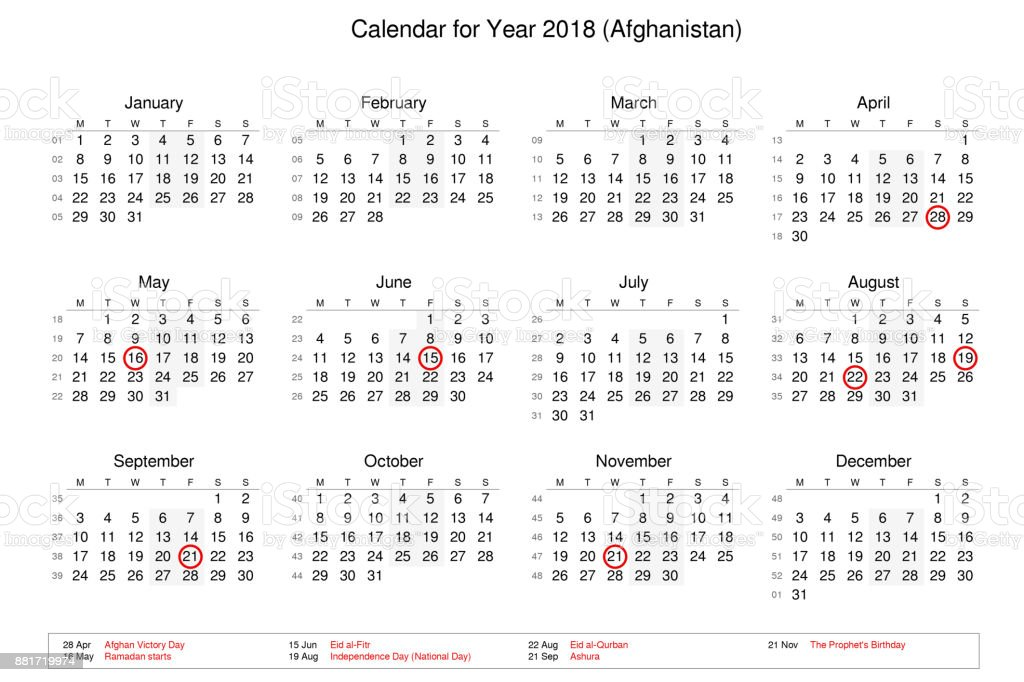 calendar of year 2018 with public holidays and bank holidays for afghanistan royalty free stock
