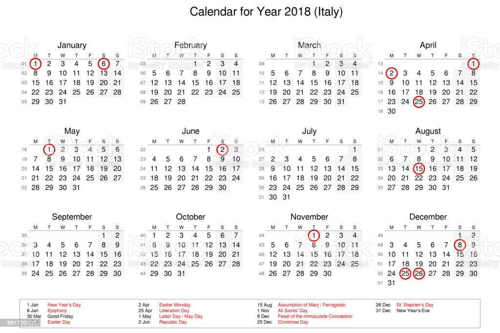 calendar of year 2018 with public holidays and bank holidays for italy royalty free stock