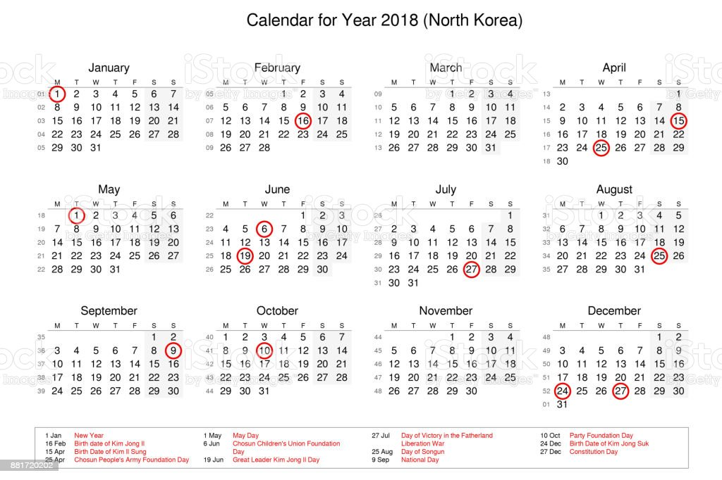 2020 Korean Calendar Calendar Of Year 2018 With Public Holidays And Bank Holidays For