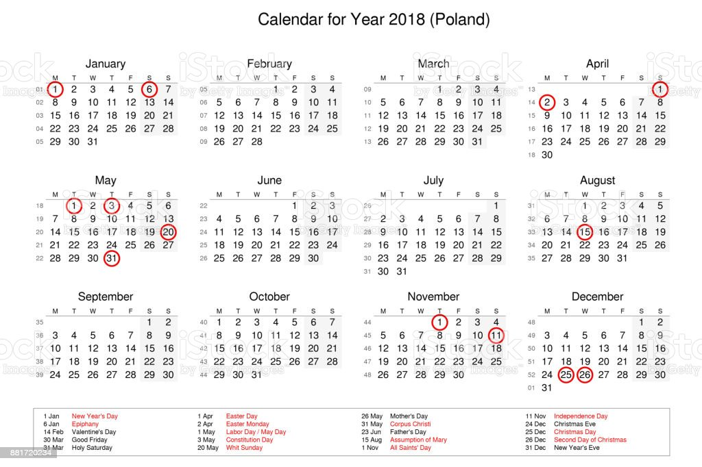calendar of year 2018 with public holidays and bank holidays for poland royalty free stock