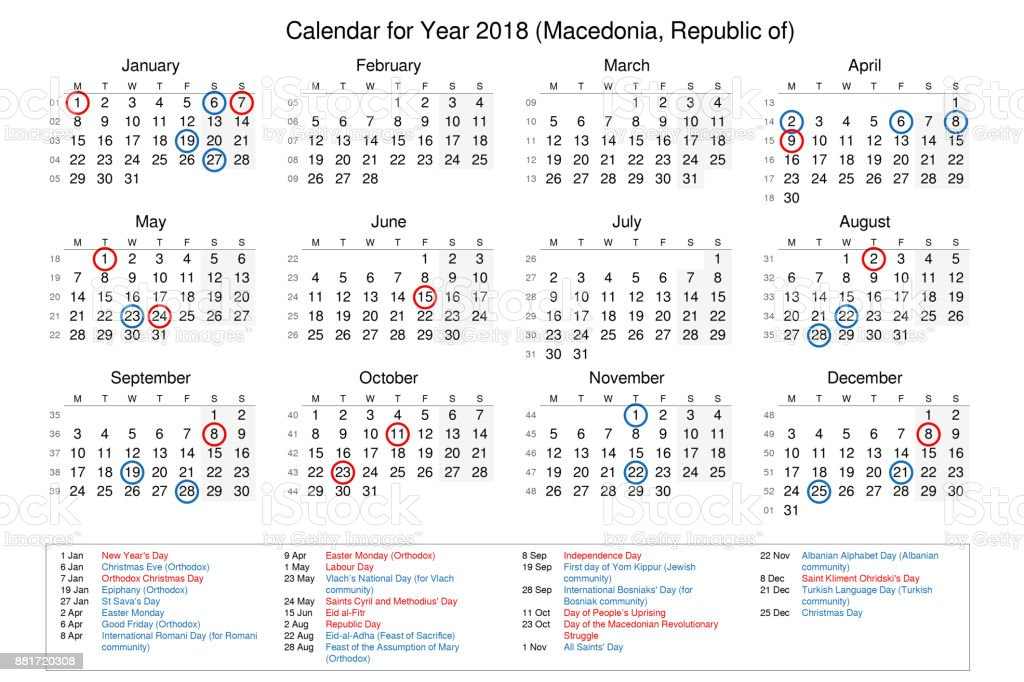 calendar of year 2018 with public holidays and bank holidays for macedonia royalty free stock