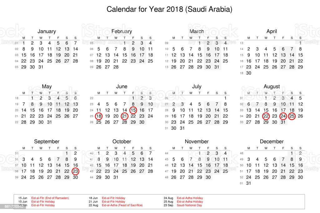 calendar of year 2018 with public holidays and bank holidays for saudi arabia royalty free